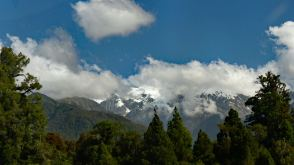 Franz Josef Glacier mountains in the clouds